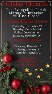 Christmas Holiday Closures