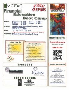 Financial Education Boot Camp @ Evangeline Parish Library