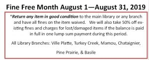 Fine Free August 1st - August 31st